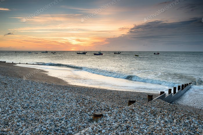 Sunrise over the beach at Selsey on the West Sussex coastline