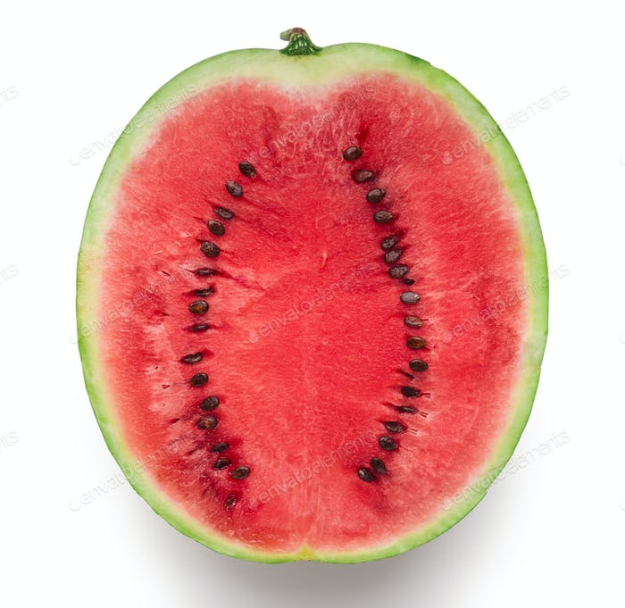 Half of fresh red ripe watermelon on white