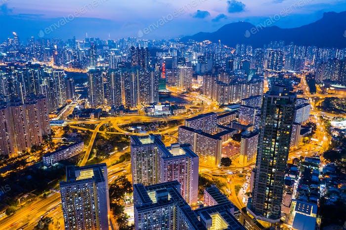 Kowloon Bay, Hong Kong 25 April 2019: Top view of Hong Kong city at night