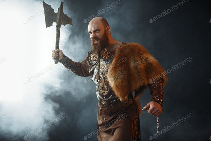 Bearded viking with axe enters the battle