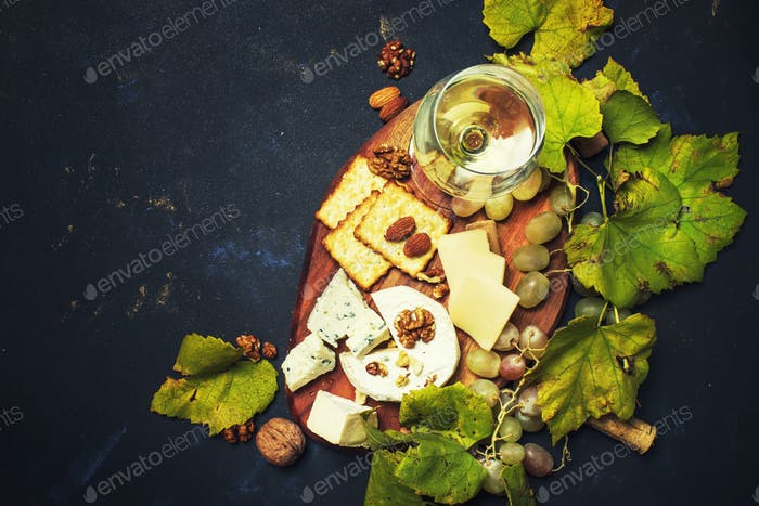 White Dry Wine, Cheese With Mold, Nuts, Grape And Cracker