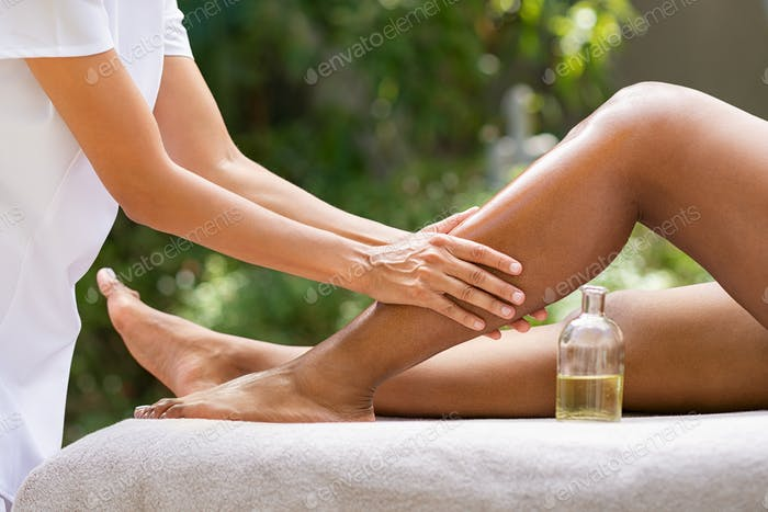 Leg massage at resort spa