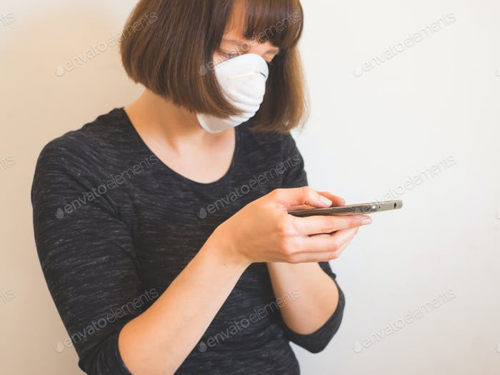 Coronavirus quarantine concept. Woman in face mask