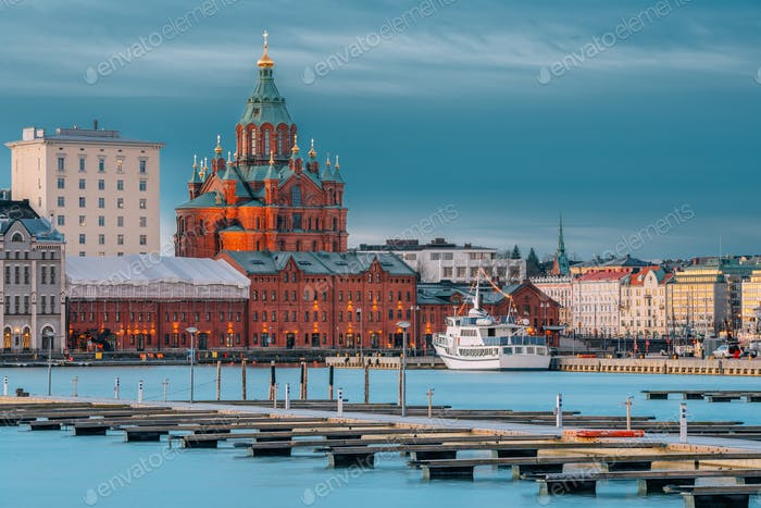 Helsinki, Finland. Kanavaranta Street With Uspenski Cathedral In Winter Morning