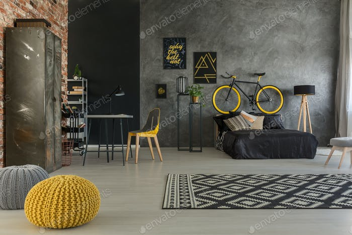 Grey apartment with yellow details