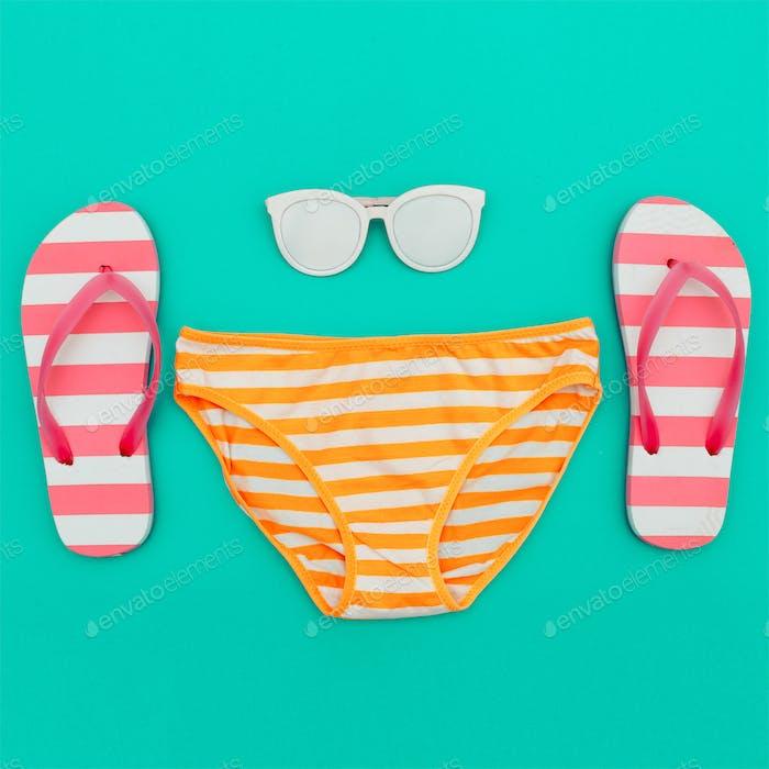 Beach Style. Beach accessories. Minimal design