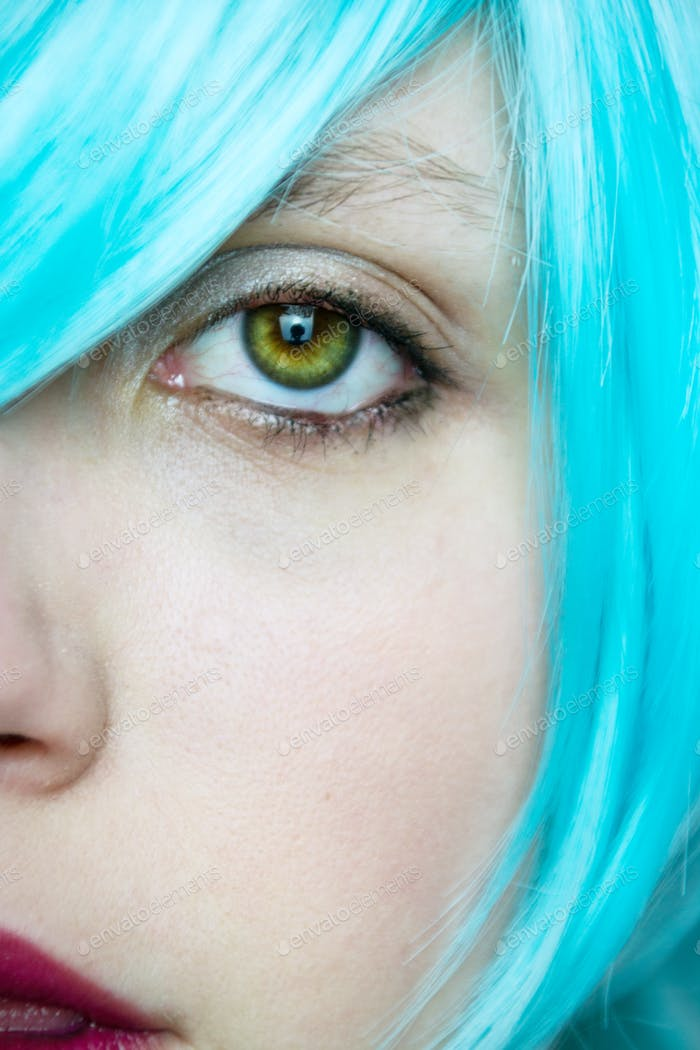 Close up of a real green eye