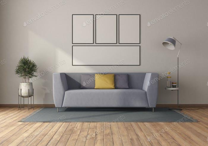 Purple sofa in a minimalist room
