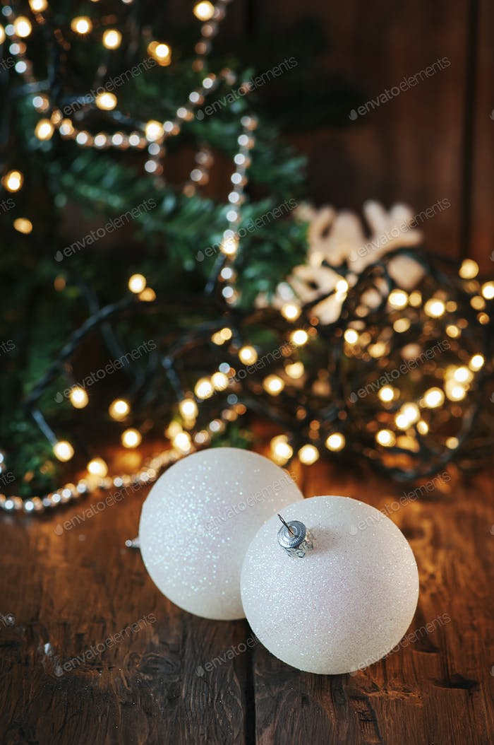 Christmas decor on the wooden table