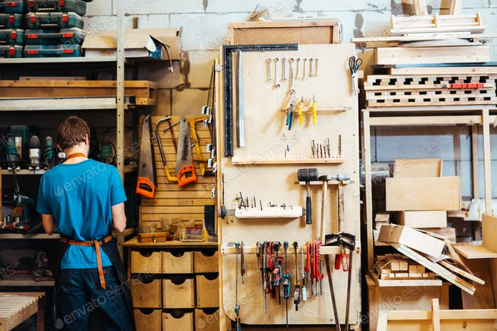Carpenter in workroom