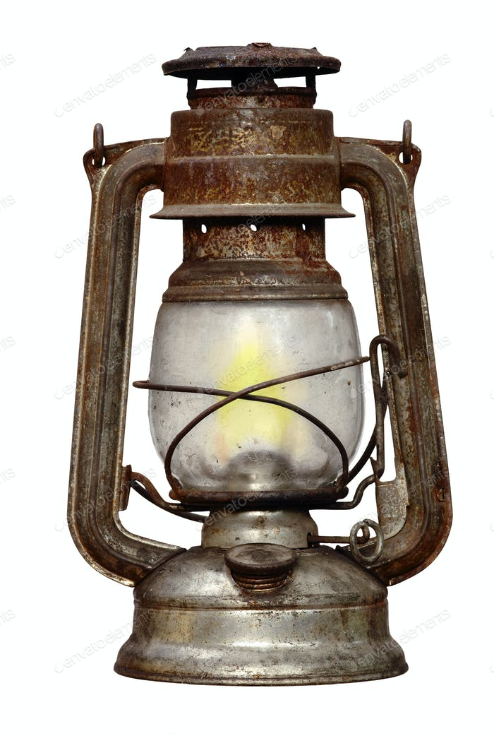 time-worn kerosene lamp