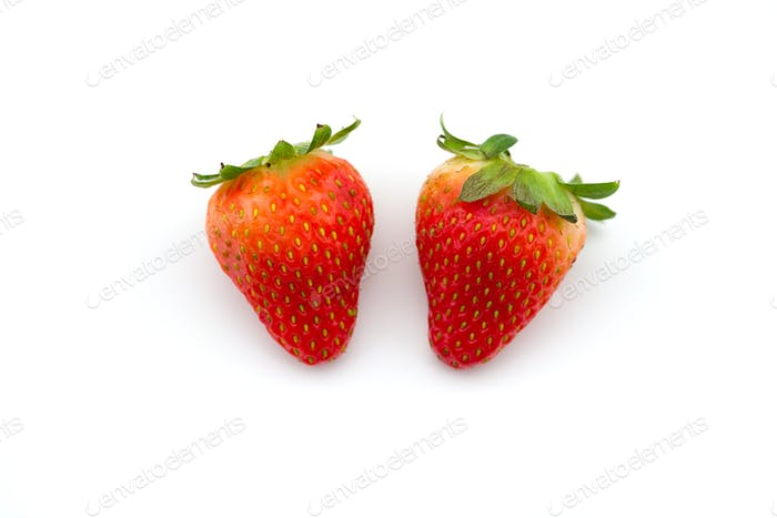 Freshly picked strawberry  isolated on white background