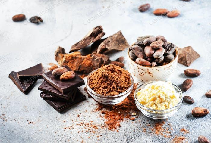 Manteca de cacao orgánica, granos de cacao, bulto de cacao rallado, chocolate negro