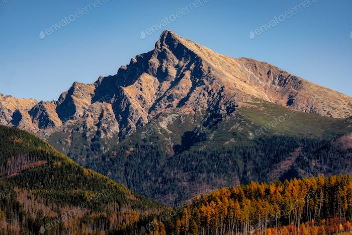 Mountain peak Krivan in High Tatras, with beautiful autumn color, Slovakia