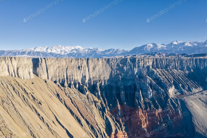 canyon cliffs landscape in xinjiang