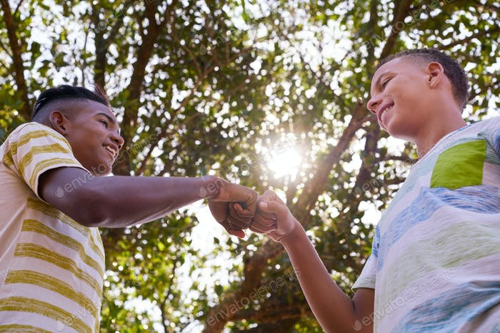 African And Caucasian Boys Joining Hands Against Racism