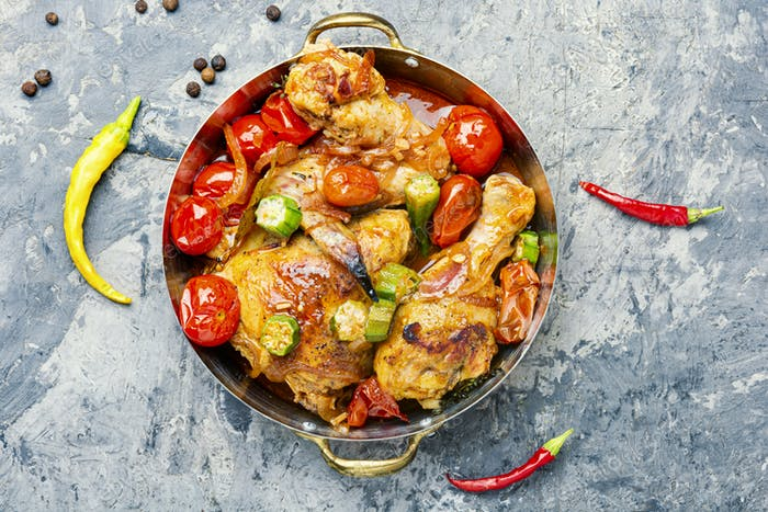 Chicken meat and vegetables stew