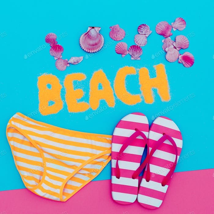Beachwear Summer time. Flip-flops, strip, love art