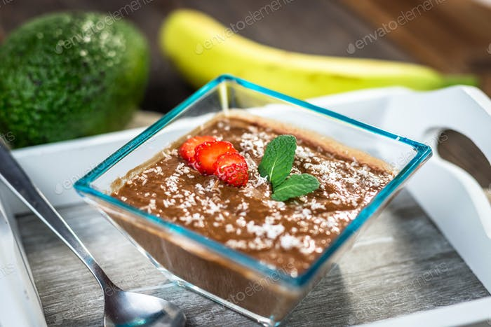 Vegan avocado banana chocolate pudding