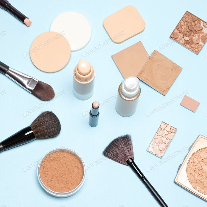 Makeup products to even out skin tone and complexion top view