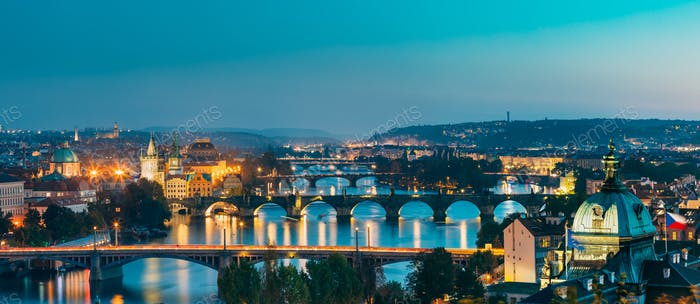Prague, Czech Republic. Evening Panoramic View Of Evening Citysc