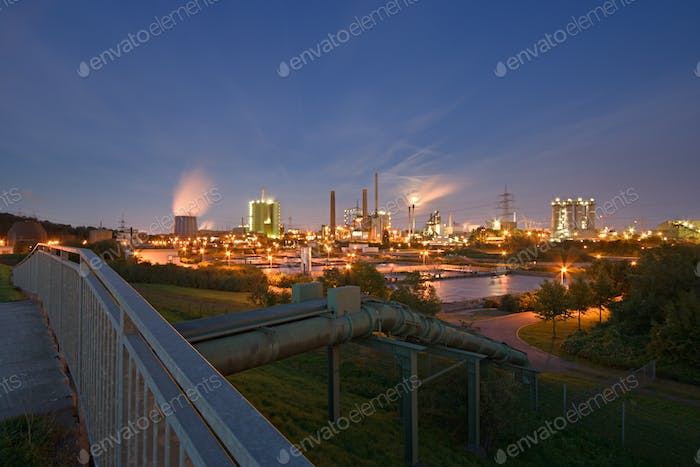 Industry And Pipeline At Night
