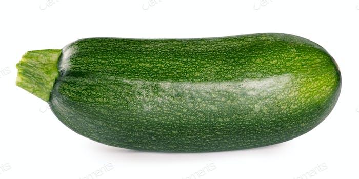 Raw ripe zucchini isolated on white background