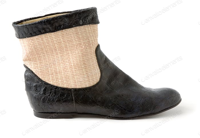 Crocodile and raffia ankle boot