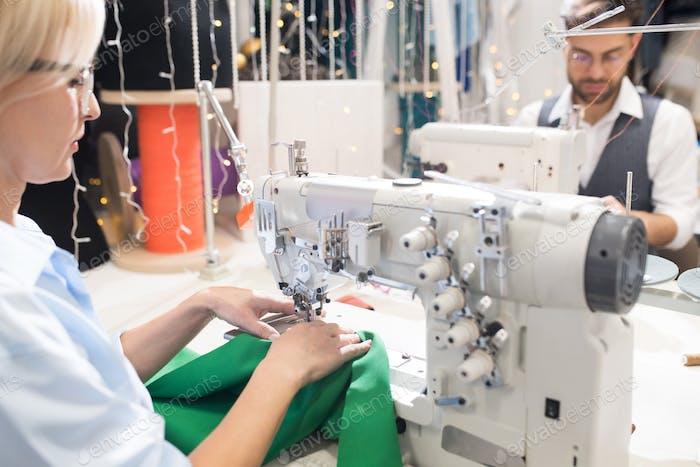 Seamstress at Sewing Machine