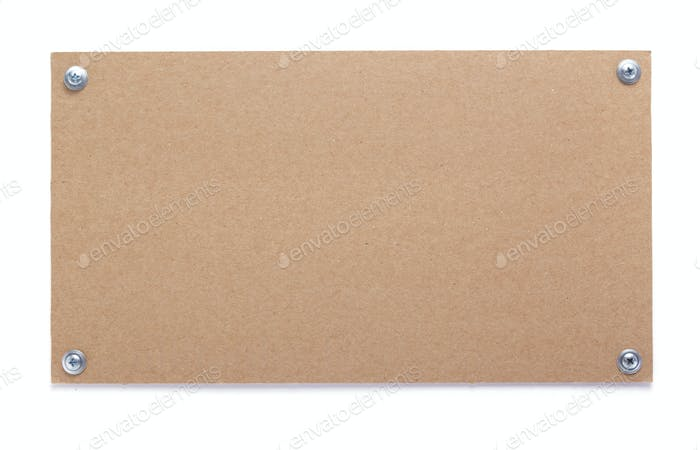 wooden nameplate or wall sign  at white background