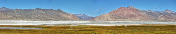 Landscape view of Tso Kar salty lake Ladakh, India