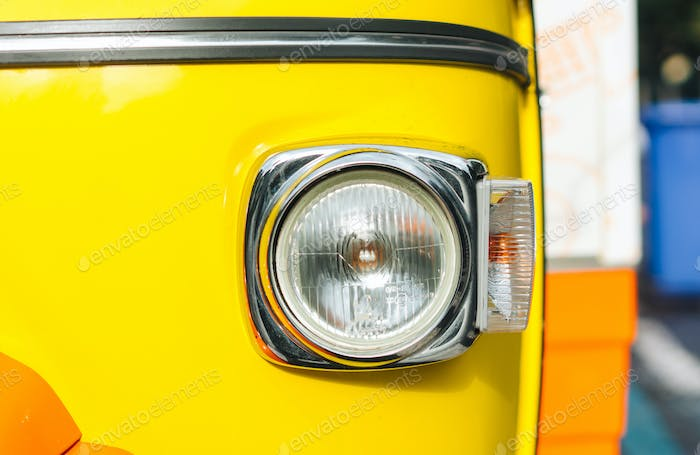 Headlight of old vehicle close up shot