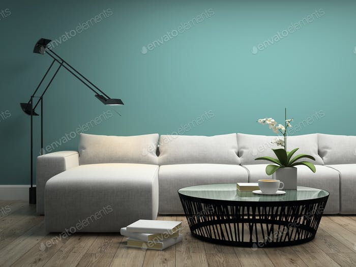 Part of interior with  white sofa and orchid 3d rendering