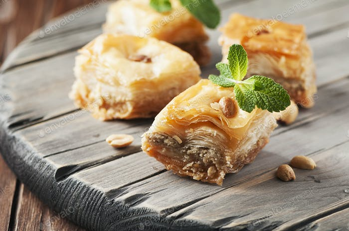 Traditional arabic dessert Baklava with honey