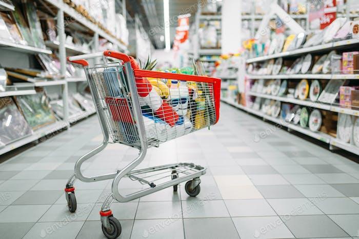 Wagen voller Waren im Supermarkt, niemand