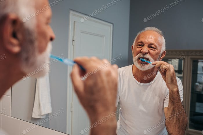 Taking care of his teeth
