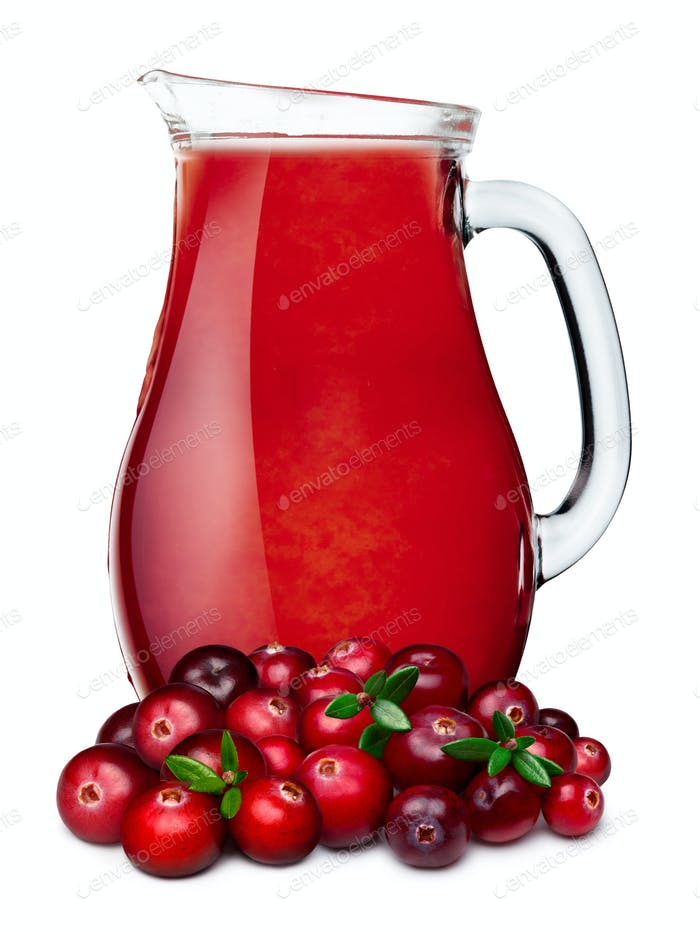 Pitcher of cranberry juice