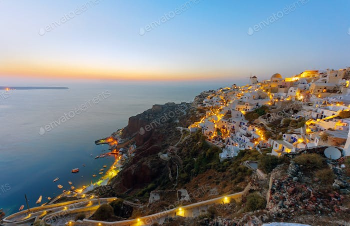 Oia and Ammoudi after sunset