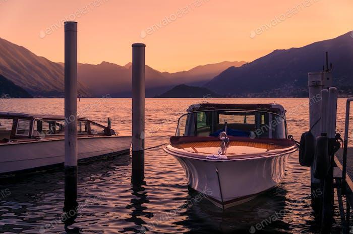 Boats Moored in Lake Como