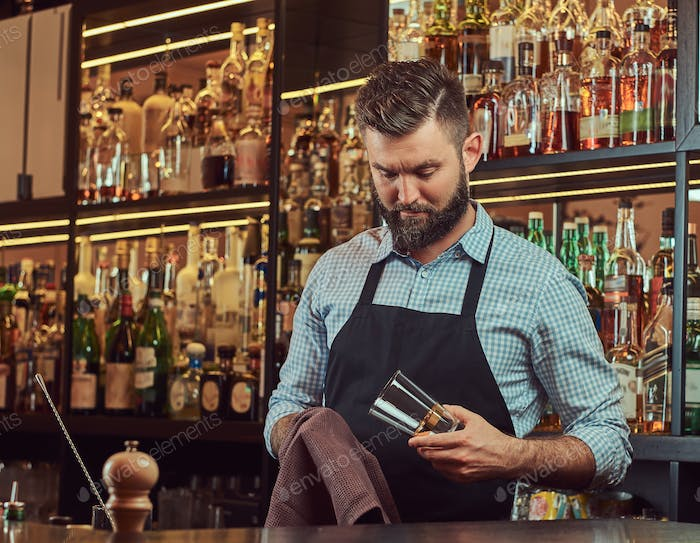 Stylish bartender in a shirt and apron standing at bar counter background.