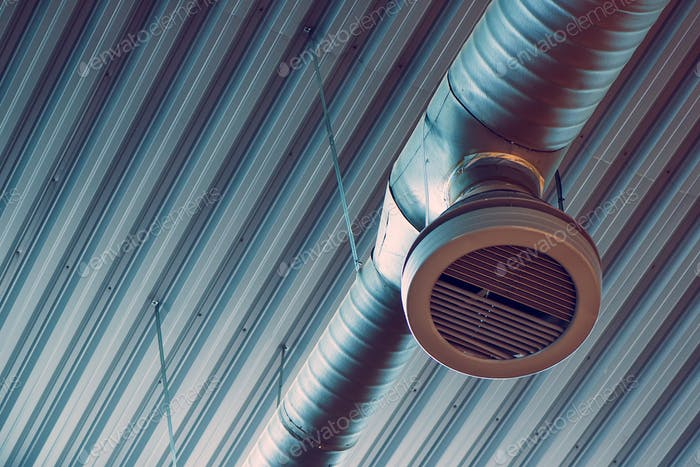 Industrial warehouse air ventilation system pipe