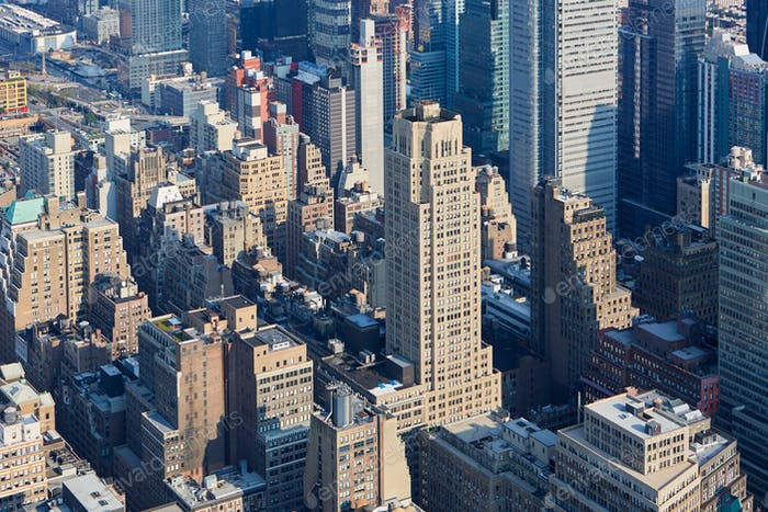 New York City Manhattan skyline aerial view with skyscrapers