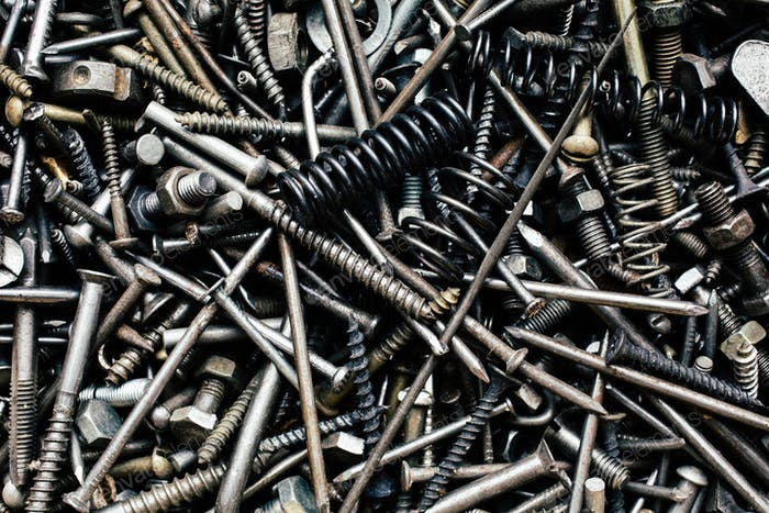 Bunch of old nuts bolts and nails