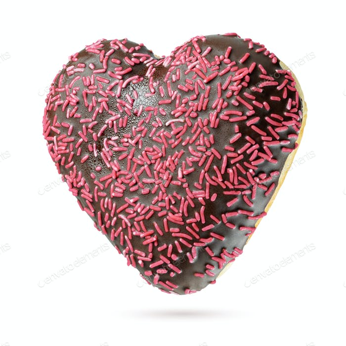 Valentine's Day Heart shape chocolate donut isolated on white background