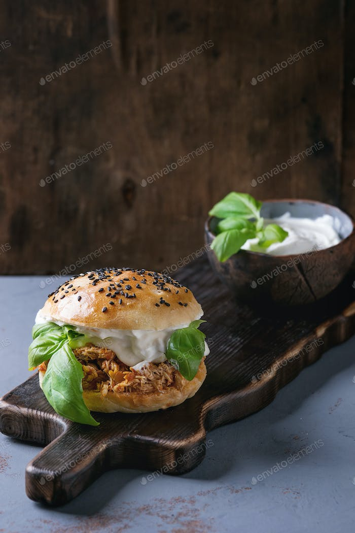 Homemade mini burger with pulled chicken