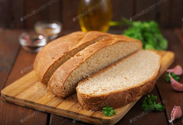 Homemade wholemeal bread sliced