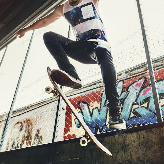Skateboarder Trick Leisure Male Teenage Concept