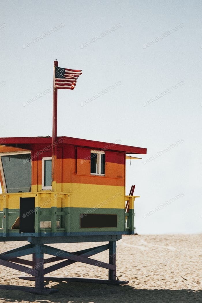 Bright and colorful lifeguard hut in the US