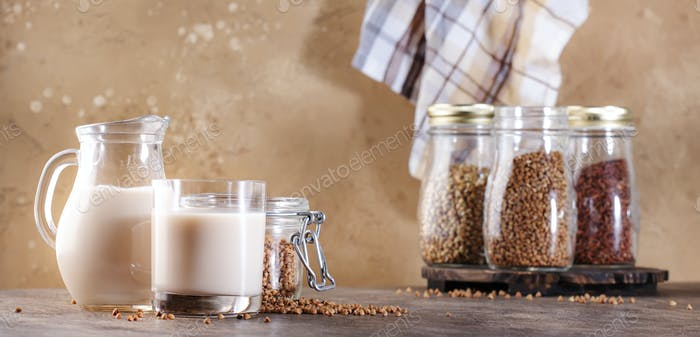 Vegan Buckwheat milk, closeup
