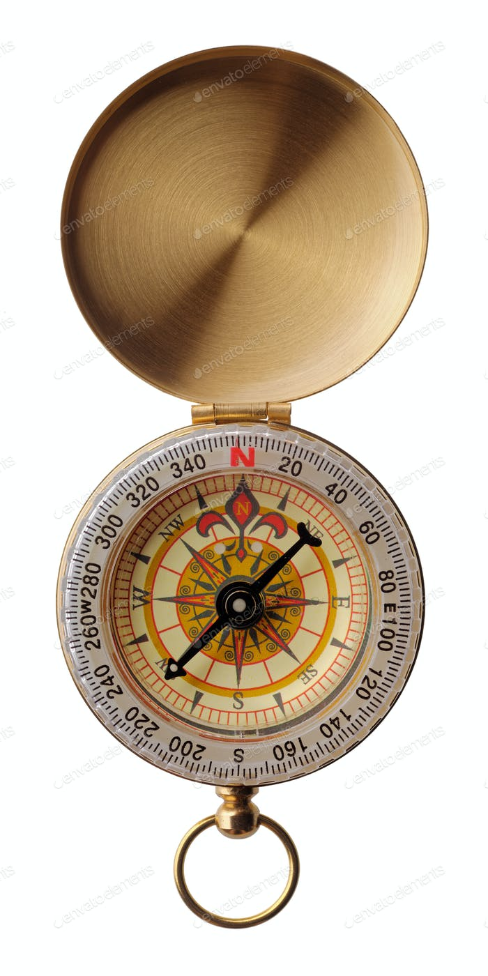 Round golden compass